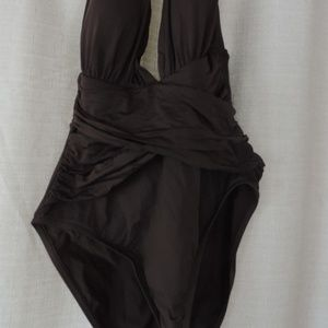 La Blanca Dark Brown Sexy Low Plunge  One Piece 8